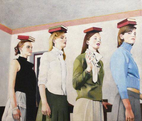 Old painting of four women with good posture balancing books on their heads