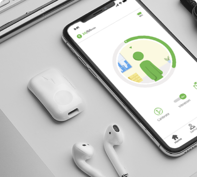 Smartphone showing the Upright app with an Upright Go and Airpods